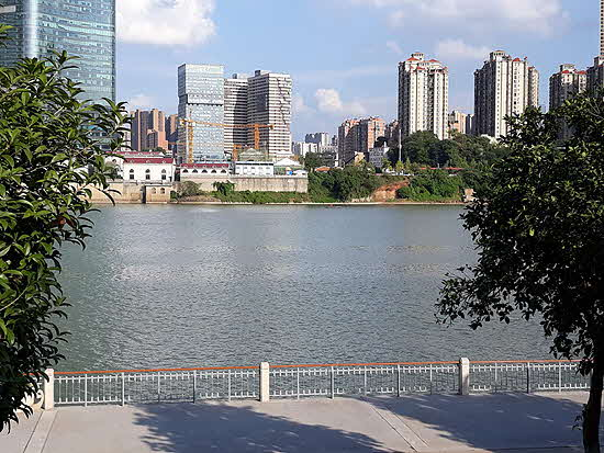 Hunan View from Tangerine Island across the Xiang River to Changsha