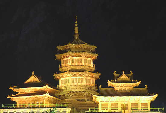 Luoyang Old Town Pagodas Night