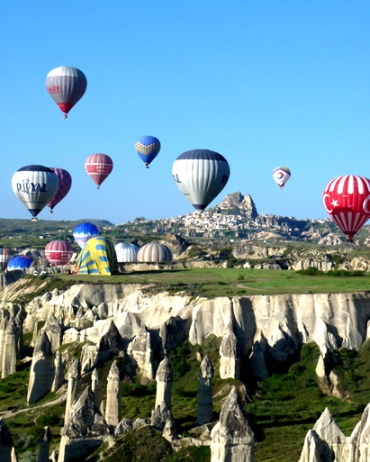 Cappadocia balloons over fairy chimneys