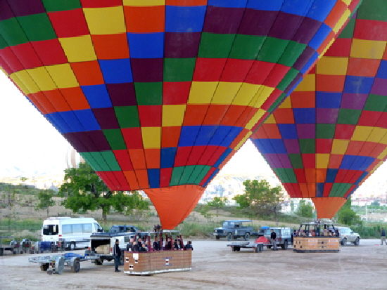 Cappadocia balloons ready for takeoff