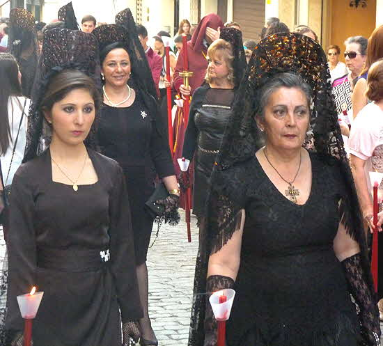 Andalucia Women in Black Lace Dresses