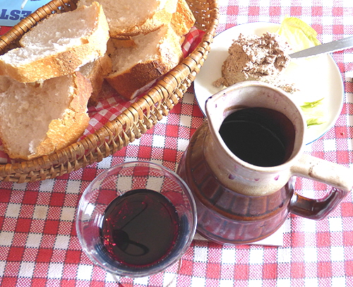 France Jug of Wine, Bread and Terrine