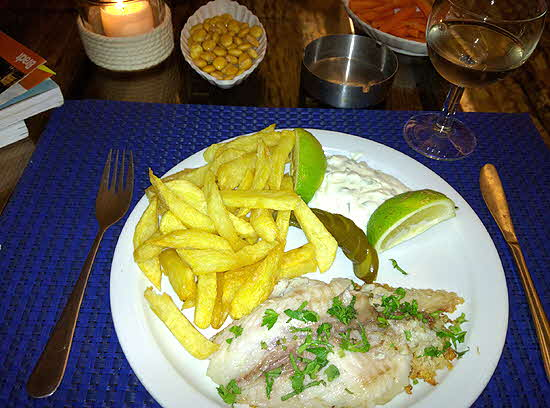 Lebanon fresh from the sea fish served with local wine