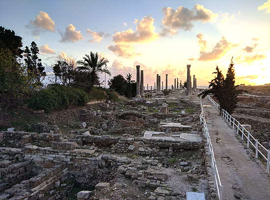 Lebanon ruins of Tyre at sunset