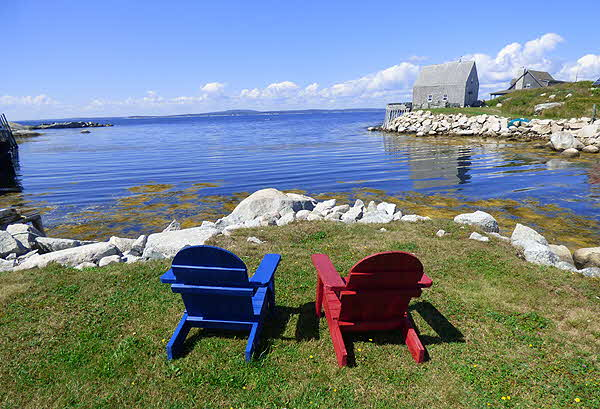 Nova Scotia Peggy's Cove with colored Chairs