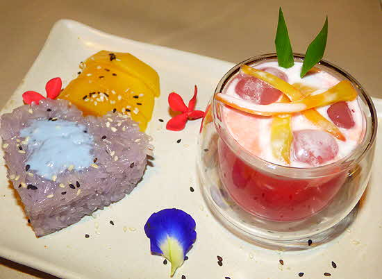 Keemala Watermelon Drink and Sticky Rice with Coconut Cream