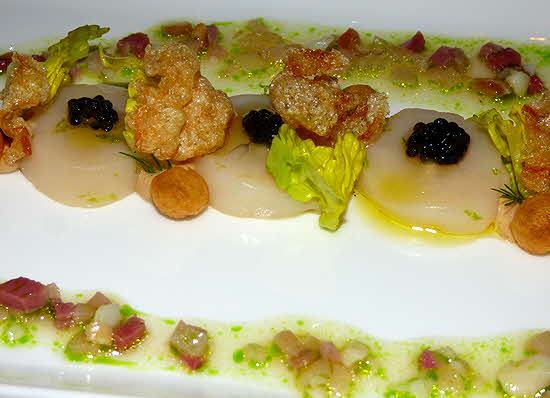 Dolder Grand Scallops with Caviar and Cubbed Tuna