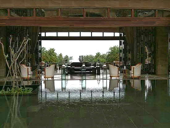 CONRAD SANYA Hotel entrance with reflecting pool