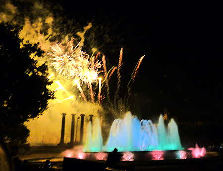 Catalonia Barcelona Fountain and Fireworks
