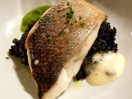 Catalonia Bass on Squid Ink Rice