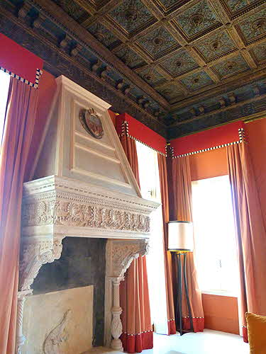 Centurion Palace Fireplace and Coffered Ceiling