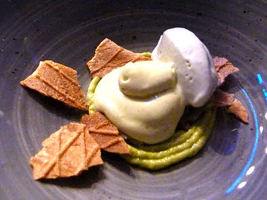 Puerto Vallarta dessert of avocado ice cream with basil cream